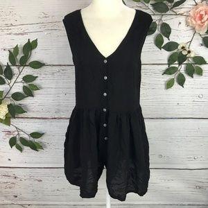 Ecote Size Small Black Shorts Romper Solid Black